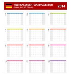Calendar 2014 German Type 8 vector image