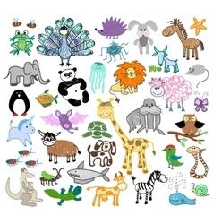 children drawing doodle animals vector image