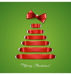Christmas tree from red ribbon background vector image