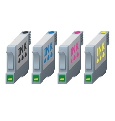 CMYK ink cartridges in isometric vector image