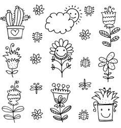 Collection of spring item doodles vector