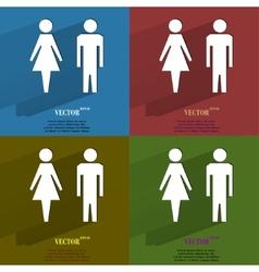 Color set suluet men women Flat modern web button vector image