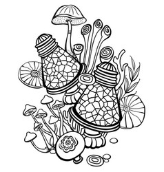 Coloring book page with mushrooms vector