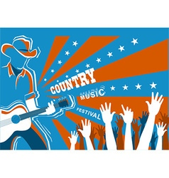 Country music concert with musician playing guitar vector image
