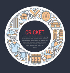cricket banner with line icons of ball bat field vector image