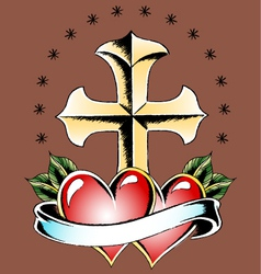 cross and double heart vector image vector image
