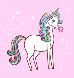cute unicorn stands on a pink background with vector image