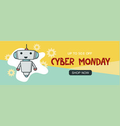 cyber monday sale promo banner vector image