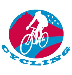 Cyclist riding racing bike vector