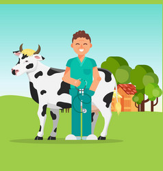 Doctor veterinary and cow vector