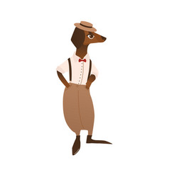 Dog character in italian style clothing vector
