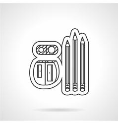 Drawing tools flat line icon vector image vector image