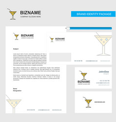 drink business letterhead envelope and visiting vector image