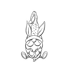 easter gnome contour drawing vector image