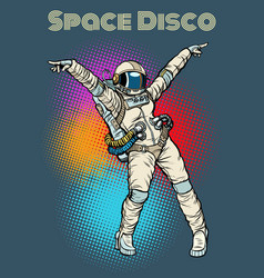 Female astronaut dancing disco vector