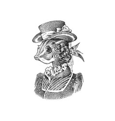 fish victorian lady woman in hat and suit vector image