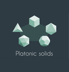 Five platonic solids sacred geometry vector