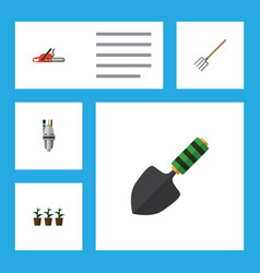 Flat icon dacha set of flowerpot hay fork pump vector