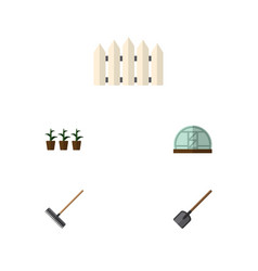 Flat icon dacha set of harrow hothouse wooden vector