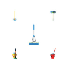 flat icon mop set of bucket broomstick cleaning vector image