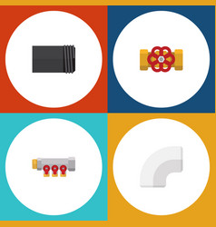 flat icon pipeline set of tube plastic pipework vector image