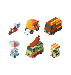 food truck colorful isometric vector image