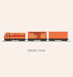 Freight train cargo cars isolated on background vector