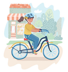 girl riding bicycle vector image