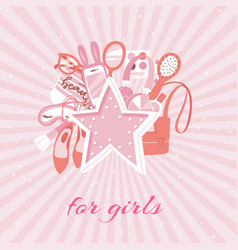 girls accessories fashion background with makeup vector image