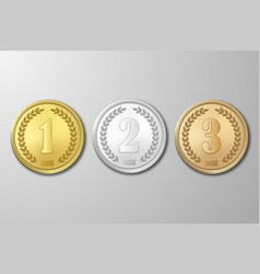 gold silver and bronze award medals set on vector image