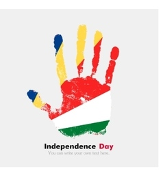 Handprint with the Flag of Seychelles in grunge vector