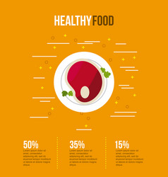 Healthy food infographic with related icon vector