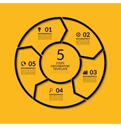 Infographic circle template with 5 steps vector image