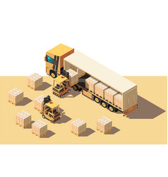 isometric 3d shipment truck with forklift and box vector image