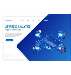 Isometric big data network visualization advanced vector