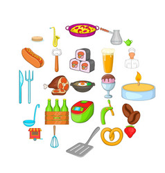 italian food icons set cartoon style vector image