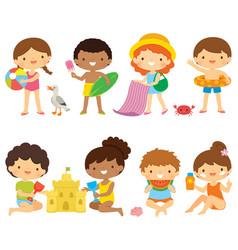 Kids at beach clipart set vector