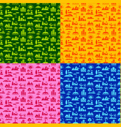 landscapes seamless patterns vector image