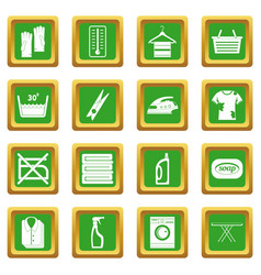 laundry icons set green vector image