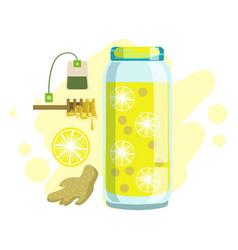 Lemon ginger honey and tea smoothie non vector