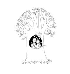 Magic Tree and cute rabbits vector image