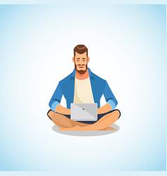 man using laptop for work and fun cartoon vector image