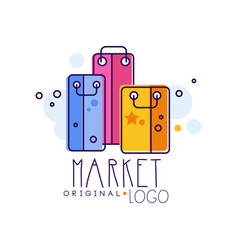 market original logo template bright sale badge vector image