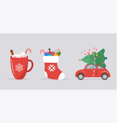 Merry christmas background banner with xmas icons vector