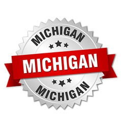 Michigan round silver badge with red ribbon vector image