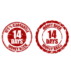 Money back guarantee 14 days rubber stamp vector