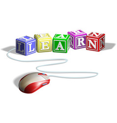 mouse and learn blocks concept vector image