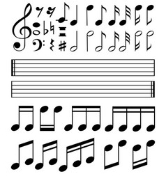 Music notes and line paper template vector