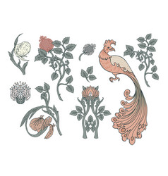 nature vintage elements enchanted vintage flowers vector image