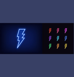 neon lightning icon glowing neon electric vector image